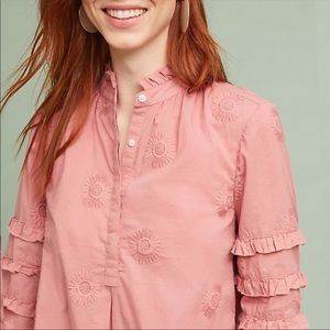 Anthro Isabella Sinclair Floral Embroidered Top M7